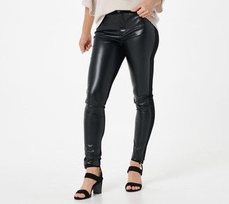 StyleList by Micaela Petite Faux Leather Front Ponte Leggings