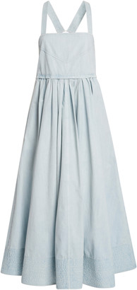 Proenza Schouler White Label Washed Cotton Midi Apron Dress