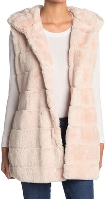 BCBGeneration Long Hooded Faux Fur Vest