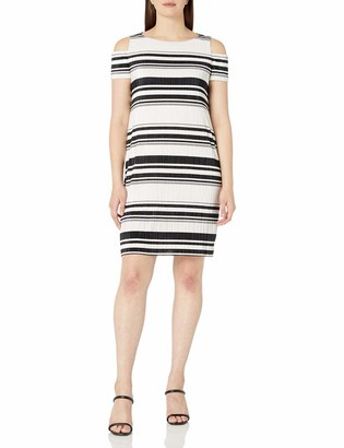 Sandra Darren Women's 1 Pc Cold Shoulder Bodre Knit Printed Striped Shift Dress