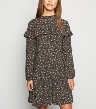 New Look Petite Spot Frill Trim Smock Dress