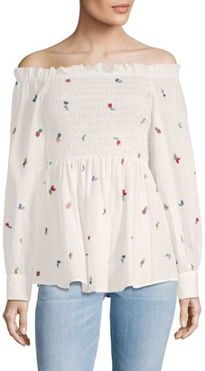 Suno Smocked Cotton Off-The-Shoulder Top