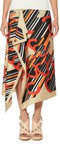 Carven Asymmetric Printed Silk Satin Midi Skirt, Multicolor