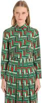 Gucci Chains Printed Silk Cady Crepe Shirt