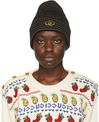 Gucci Black GG Striped Beanie