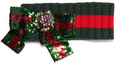 Gucci Embellished Wool-blend Headband - Green