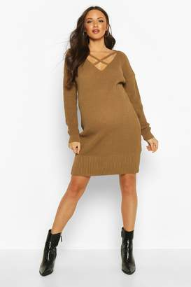 boohoo Maternity Cross Front Jumper Dress