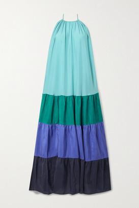 Vanessa Bruno Nuccia Tiered Color-block Washed Silk-satin Maxi Dress - Teal