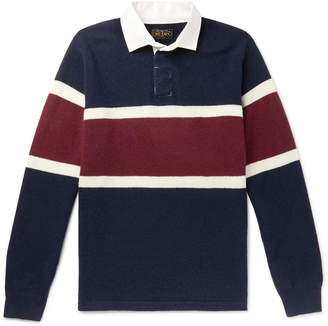 Beams Twill-Trimmed Striped Wool Rugby Shirt