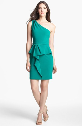 Adrianna Papell One Shoulder Peplum Dress (Online Only)