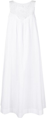 P.A.R.O.S.H. Embroidered-Detail Sleeveless Midi Dress