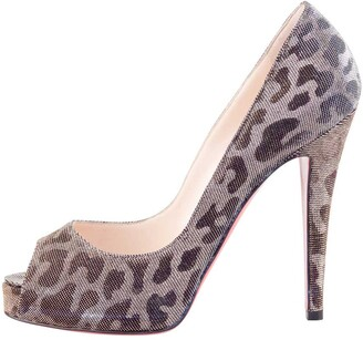 Christian Louboutin Christian Louboutint Gold/Silver Leopard Glitter Canvas Very Prive Lame Peep Toe Pumps Size 37