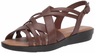 Easy Street Shoes womens Jasmine Flat Sandal Tan 9 N US