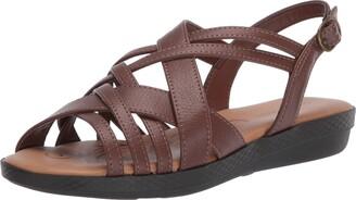 Easy Street Shoes Womens Jasmine Flat Sandal Tan 9 N US