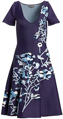 Zac Posen Floral Jacquard V-Neck Knit Dress