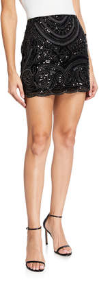 Endless Rose Bead Embroidered Scallop Mini Skirt