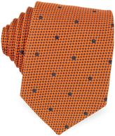 Forzieri Dark Blue Woven Dots Men's Silk Tie