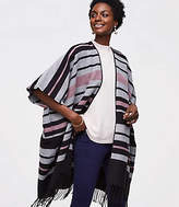 LOFT Striped Fringe Poncho