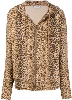 Saint Laurent Leopard Print Zip-Up Hoodie