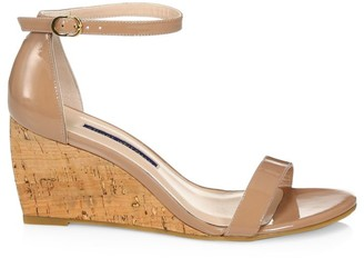 Stuart Weitzman Patent Leather Platform Wedge Sandals