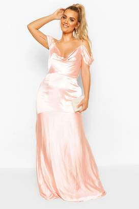 boohoo Plus Bridesmaid Satin Cowl Maxi Dress