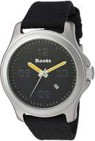 Roots Men's 'Core' Quartz Stainless Steel and Canvas Casual Watch, Color:Black (Model: 1R-LF400GN6B)