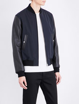 Sandro Yankee leather-sleeve bomber jacket