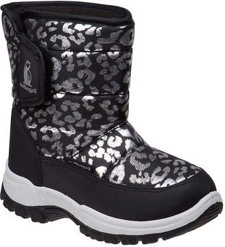 Rugged Bear Girls' Cold Weather Boots Black - Black & Silver Leopard Print Snow Boot - Girls