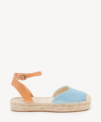 Soludos Women's Alix Classic Sandals Two Piece Espadrille Flat Light Blue Size 6 Woven From Sole Society