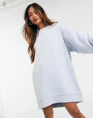 Weekday Liza mini sweat dress in light blue