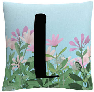 "Pink Floral Garden Letter Illustration 16x16"" Decorative Throw Pillow by Abc"
