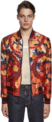 DSQUARED2 Peacock Print Silk Organza Bomber Jacket
