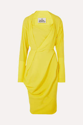 Vivienne Westwood Grand Fond Draped Crepe De Chine Dress - Yellow