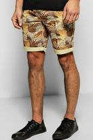 Boohoo All Over Leaf Print Chino Short