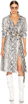 Andamane ANDAMANE Claretta Faux Leather Snake Print Trench Coat in Grey   FWRD