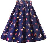 Honeystore Women's Casual Flare Pleated Skirt A-Line Floral Print Midi Dress S