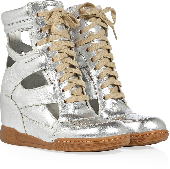 Marc by Marc Jacobs Silver-Toned Cut-Out Wedge Sneakers