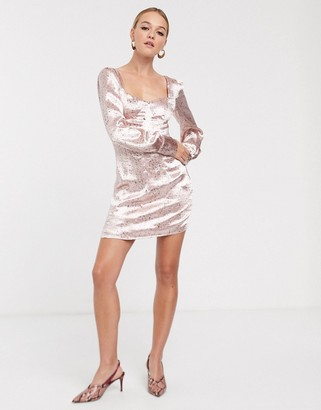 Glamorous structured mini dress with puff sleeves in scattered spot satin