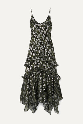 Michael Kors Ruffled Metallic Fil Coupe Silk-blend Chiffon Midi Dress - Black