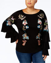 INC International Concepts Anna Sui Loves Plus Size Embroidered Ruffled Top, Created for Macy's