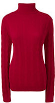 Lands' End Women's Tall Cable Turtleneck Sweater-Cherry Jam