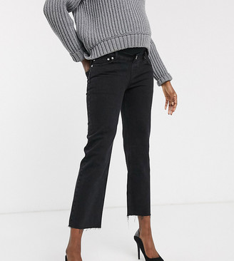 ASOS DESIGN Maternity high rise stretch 'effortless' crop kick flare jeans in black