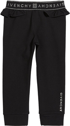 Givenchy Girl's Ruffle-Trim Logo Pants, Size 2-3
