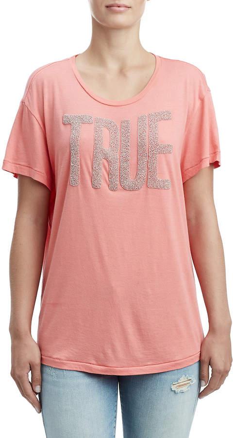 True Religion WOMENS BEADED LOGO TEE