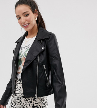 Asos Tall ASOS DESIGN Tall ultimate leather look biker jacket
