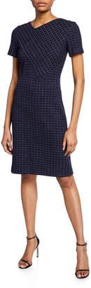 St. John Graphic Boucle Windowpane Knit Asymmetric-Neck Dress
