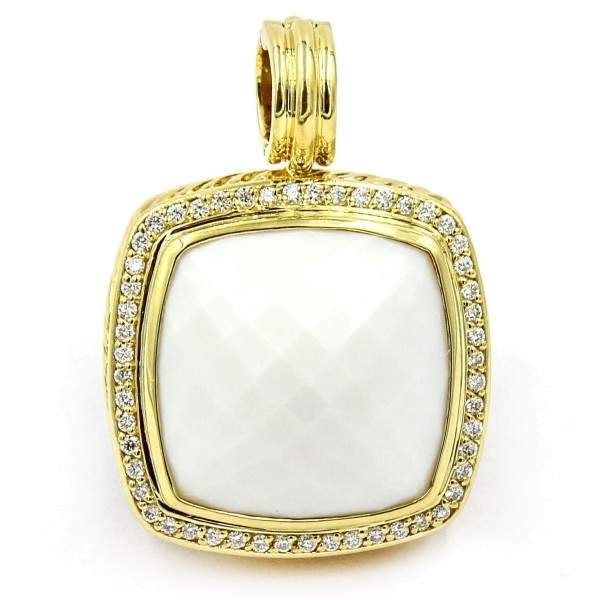 David Yurman Albion 18K Yellow Gold White Agate and Diamonds Pendant