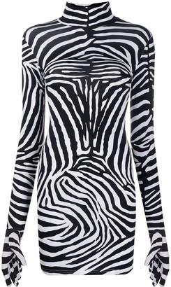 Vetements Long-sleeve Zebra Print Dress