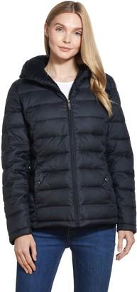 Weatherproof Short Hooded Sherpa Lined Puffer Jacket