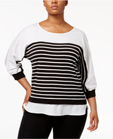 Calvin Klein Plus Size Striped Layered-Look Sweater